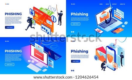 Phone phishing data emails banner set. Isometric set of phone phishing data emails vector banner for web design