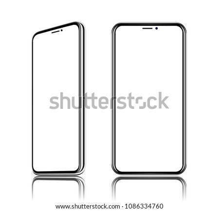 phone realistic vector front view, It located obliquely, turn on the diagonal,  isolated on white background