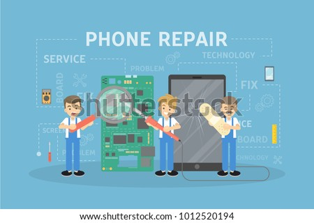 Phone repair concept illustration with workers and equipment.