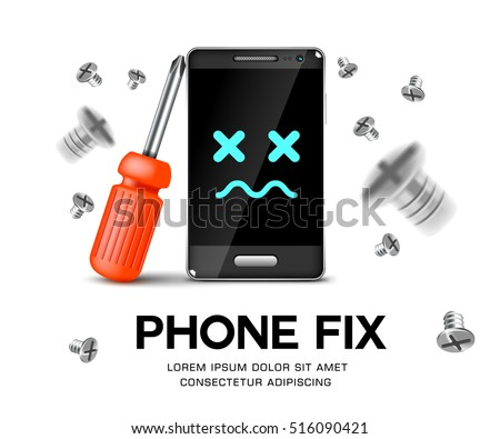 phone repair fix poster background vector illustration. phone with screwdriver and screws