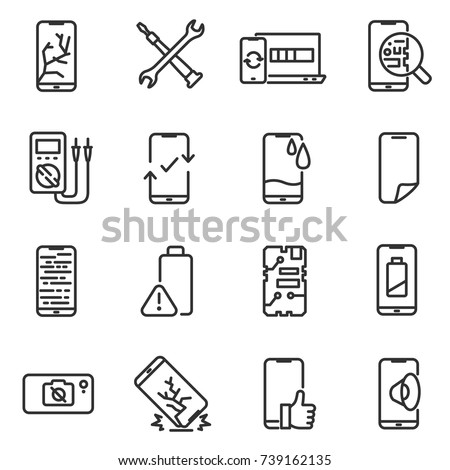 Phone repair icon set. Breakage and recovery of the smartphone, thin line design. Repair Center. Line with editable stroke
