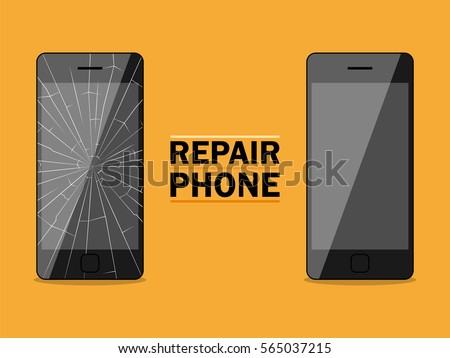 Phone repairs flat design sign. Vector illustration for advertising banners, posters, signs.