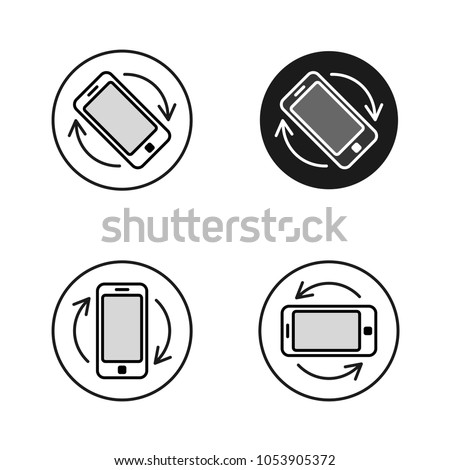 Phone rotate symbols set. Smartphone rotation black and white line style icons. Phone tilt vertical and horizontal signs.
