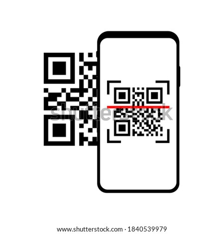 Phone scanning qr code. QR code scanner. Qr code payment concept. Smartphone screen with qr code Isolated vector illustration. Vector sign. Symbol, sign. Outline illustration vector. EPS 10