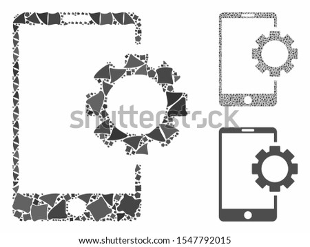 Phone setup gear composition of unequal parts in various sizes and color tones, based on phone setup gear icon. Vector tuberous dots are composed into collage.