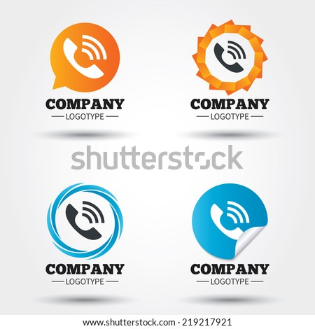 Phone sign icon. Support symbol. Call center. Business abstract circle logos. Icon in speech bubble, wreath. Vector