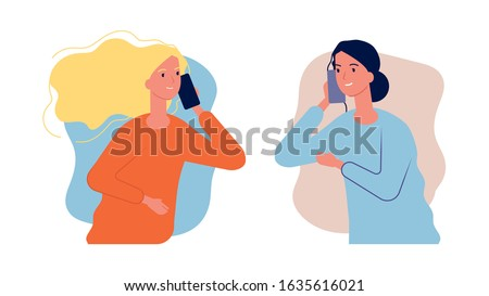 Phone talk. Women girlfriends have conversation. Call center help, girl need to talk. Mother and daughter cellphone dialog, parent care vector illustration