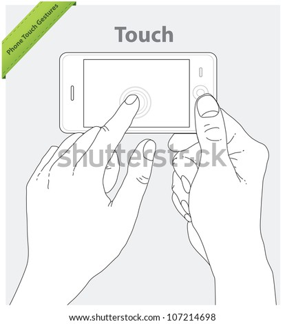 Phone touch gestures. Landscape view