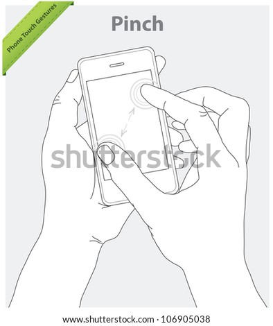 Phone touch gestures. Pinch screen