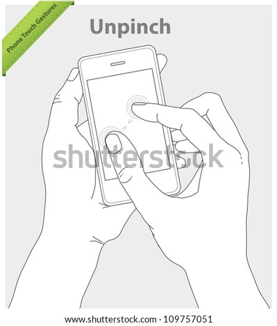 Phone touch gestures. Unpinch screen