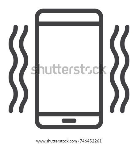 Phone vibrating line icon, web and mobile, call sign vector graphics, a linear pattern on a white background, eps 10.