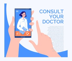 Phone Video Call to the Doctor Through the Application on the Smartphone Online Medical Advice Concept