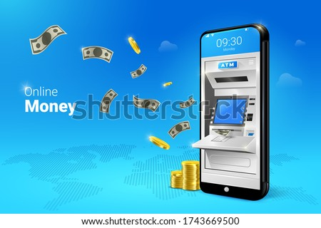 Phone with a mobile interface of the online payment, ATM, money transfers, financial transactions and digital financial services. falling Money on the Mobile ATM illustration.