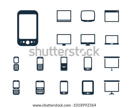 Phone with a touch screen icon in set on the white background. Set of thin, linear and modern electronic equipment icons. Universal linear icons to use in web and mobile app