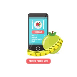 Phone with app of calorie counter, apple and measuring tape. Calorie calculator concept for icons, banners, web mobile design. Vector illustration.