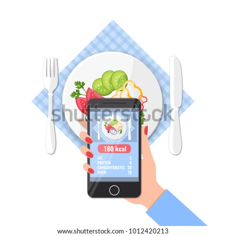 Phone with app of counting calories in photos on a smartphone.