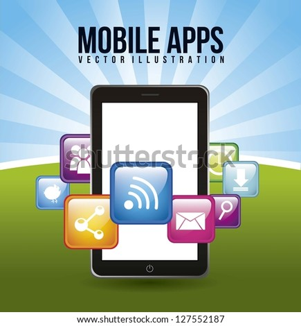phone with apps mobile buying. vector illustration