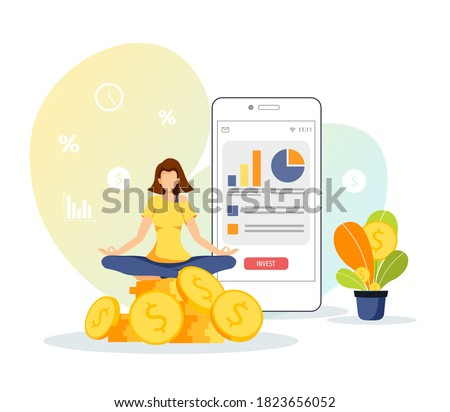 Phone with diagrams and woman meditating on the stack of coins. Profit, making money, finance app, business, investment concept. Isolated vector illustration for banner, poster, advertising. Foto stock ©