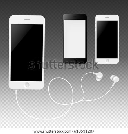Phone With Earphones Gradient Mesh, Vector Illustration