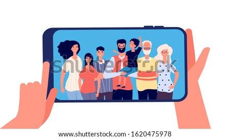 Phone with family photo. Hands holding smartphone with happy smiling grands mother dad kids together. Taking family selfie, memories vector concept