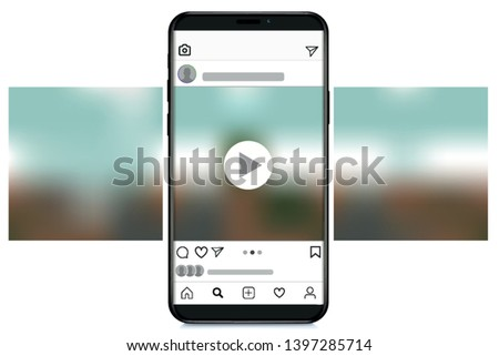 phone with interface carousel post on  social network. Vector illustration