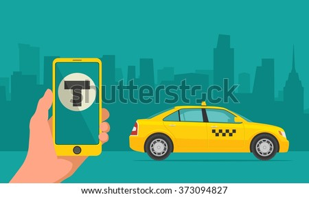 phone with interface taxi on a