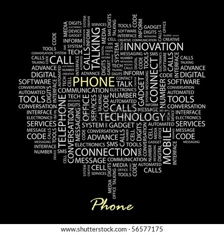 PHONE. Word collage on black background. Word cloud concept illustration of  association terms.