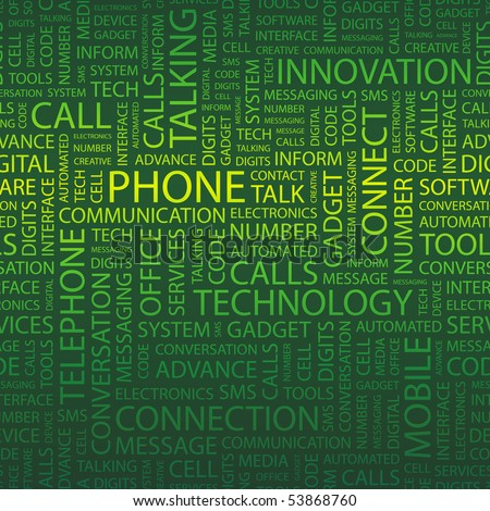PHONE. Word collage. Vector illustration.