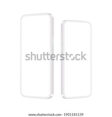 Phones Clay Mockups with Blank Screens, Side Perspective View, Isolated on White Background. Vector Illustration