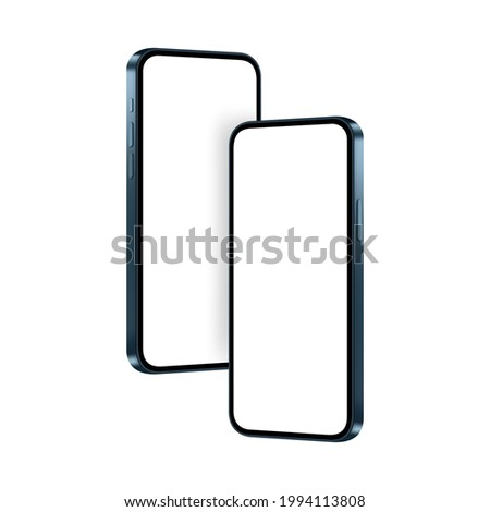 Phones Dark Blue Mockups, Isolated on White Background, Side View. Vector Illustration
