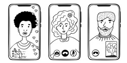 Phones with people using virtual communication. Video call, stories, video connection. Monochrome image on a white background.