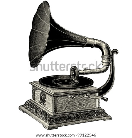 phonograph   vintage engraved...