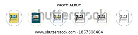 Photo album icon in filled, thin line, outline and stroke style. Vector illustration of two colored and black photo album vector icons designs can be used for mobile, ui, web