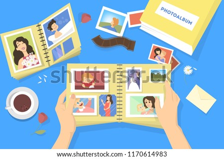 Photo album with family photos. Photography with happy people. Good memory. Vector illustration in cartoon style.