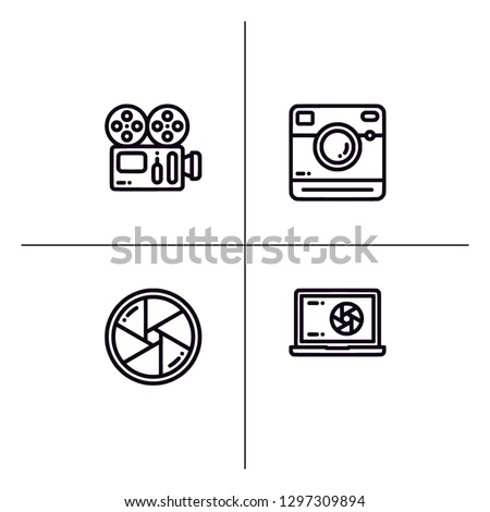 Photo and video camera detailed outline lineal icon set EPS 10 vector format. Transparent background.