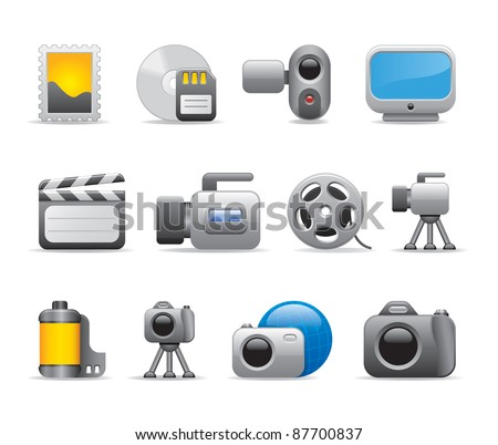 Photo and video logo icons - stock vector