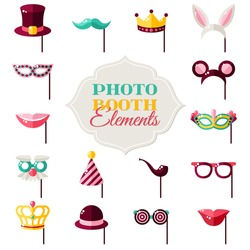 Photo Booth Elements Isolated on White Background. Vector illustration. Rabbit Ears, Detective Hat and Pipe, Carnival Masks, Smiling Lips, Princess Crown.