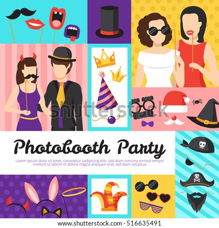 Photo booth party design concept with hats and glasses flat isolated vector illustration