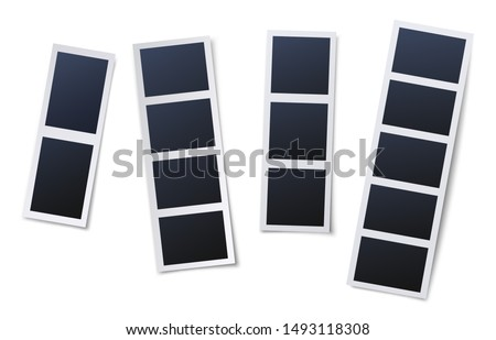 Photo booth picture frames. Vintage snapshots, instant photos and photographs strips. Photo box snapshot, photography picture card mockup isolated vector illustration icons set