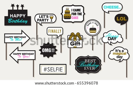 Photo booth Props Birthday Party, Featuring cute Funny Doodle Speech Bubble Happy day Black and Gold Vector illustration Collection. Foto d'archivio ©
