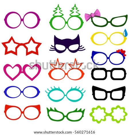 Photo booth props glasses masks isolated on white. Decorative elements for retro party. Vector illustration.