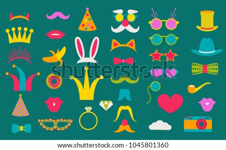 Photo booth props set vector illustration. Collection of design elements with party  items, hat, sunglasses. Perfect for photobooth shooting