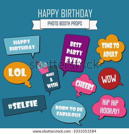 Photo booth props set vector illustration. Collection of icons with cartoon style birthday party speech bubbles. Accessories for photobooth shooting