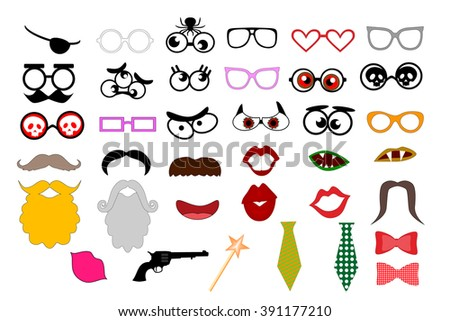 Photo booth props template for party. Elements for party props. (mustaches, lips, eyeglasses, beard, tie silhouettes and design elements for party props isolated on white background)