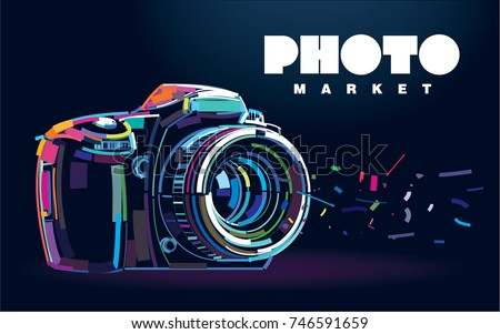 Photo camera. Banner in a digital painting
