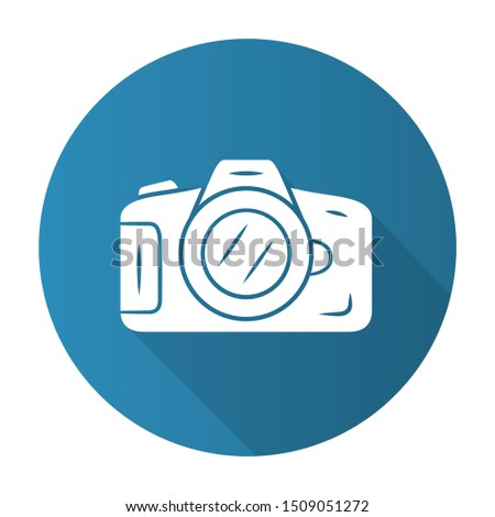 Photo camera blue flat design long shadow glyph icon. Professional photocamera. Making snapshots, taking pictures device. Photographing equipment. Photographer tool. Vector silhouette illustration