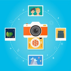 Photo camera concept Flat design style modern vector illustration