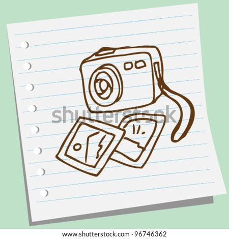 photo camera doodle illustration - stock vector