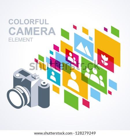 photo camera icon colorful media element background / eps8, no transparent - stock vector
