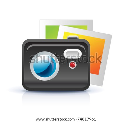 photo camera icon with photo frames